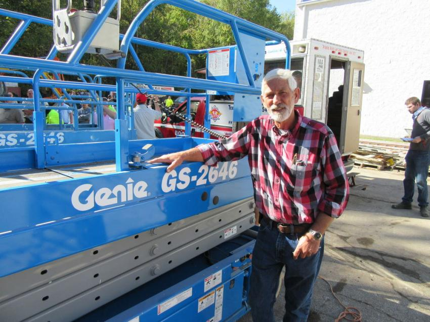 Calvin Brown of Brown Sprinkler Services was pleased to have placed the winning bid on this Genie GS-2646 scissor lift.