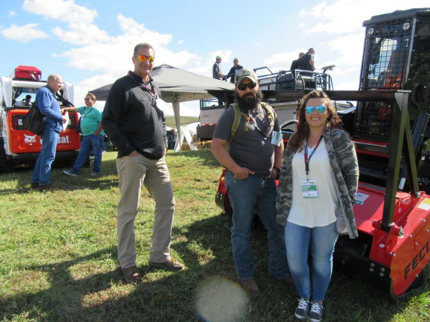 (L-R): Aex / Fecon's James Loneman spoke with Chris Knight of B&G Brush Control and Jennifer Knight of Rooster Outdoor about the company's line of land clearing and vegetation control machines.