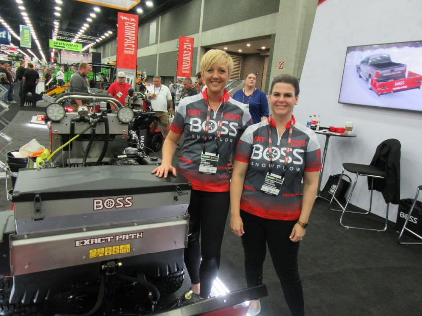 Lisa Axberg (L) and Melissa Thornton of Boss Snowplow had a wide range of snow and ice control equipment to present, including this Snowrator, sized for sidewalk maintenance.