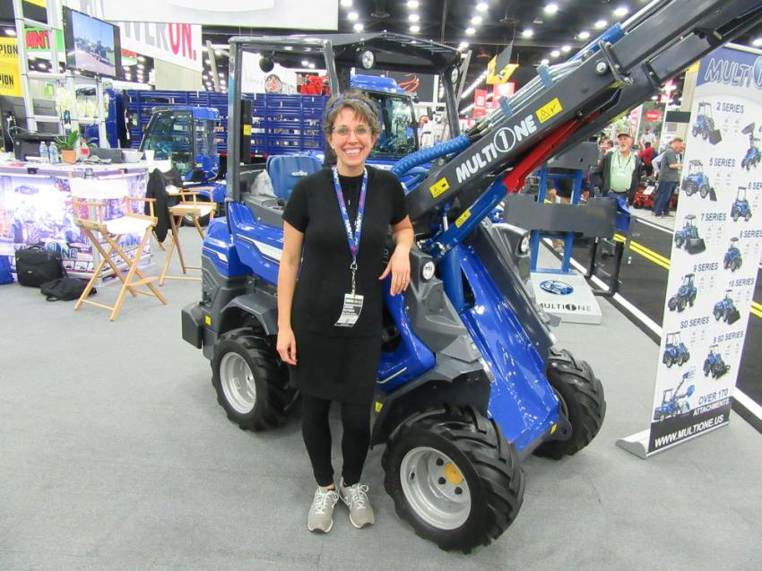 Multi-One's Jahana Utchman spoke with attendees about the company's upgrade to the company's 2.3 series mini-loader and the launch of the company's EZ Series 100 percent electric mini-loaders.
