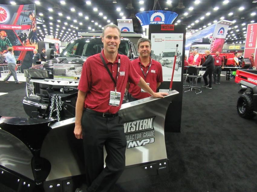 Brandon Mastin (L) and John Beck of Western Products were on hand ready to talk snow and ice control at the show.