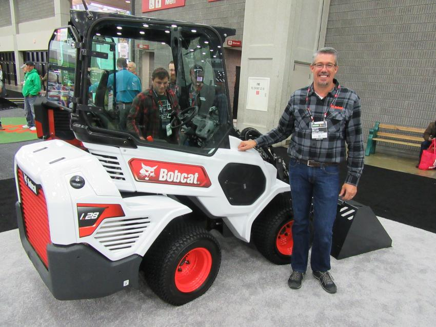 Bobcat's Marty Miller was pleased to provide attendees with a sneak peek at the all new L28, an articulated loader due on the market in early 2020.