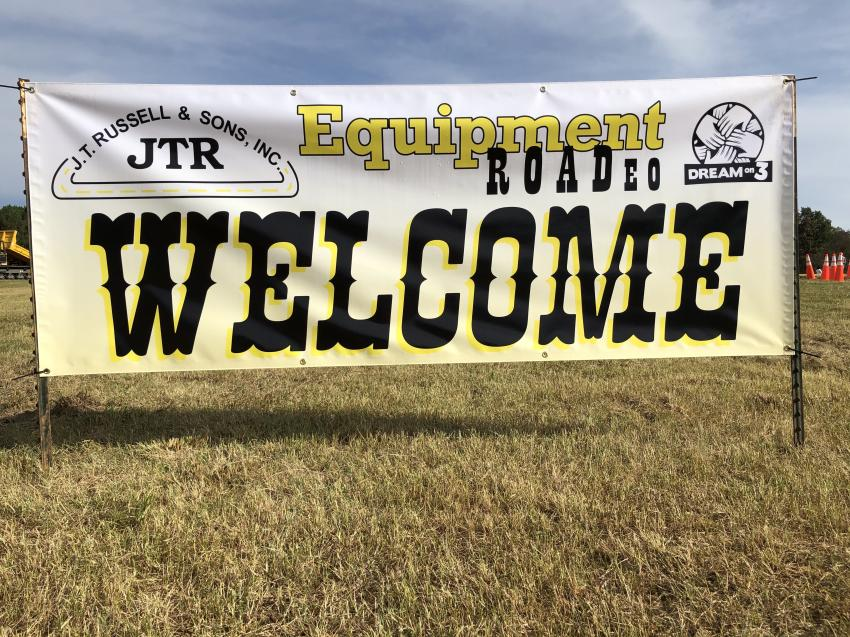 Sign welcoming contestants and guests to the Equipment ROADeo.