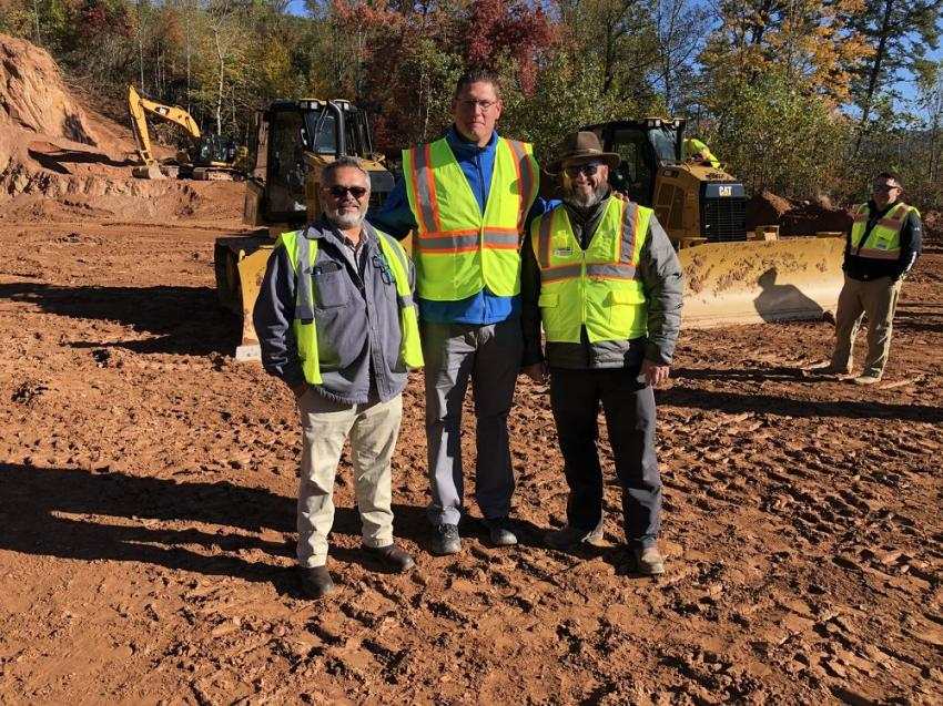 Manuel Maples (L), director of infrastructure for the Cherokee Indians, shown with Steve Norton and Mark Kincer, both of Carolina Cat.