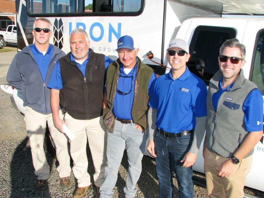 The boys of the Iron Auction Group were at the site early and ready to get the sale started (L-R) including David Meares, Matt McGaffee, Ross McMillan, Mike Finley and Jared McGaffee.