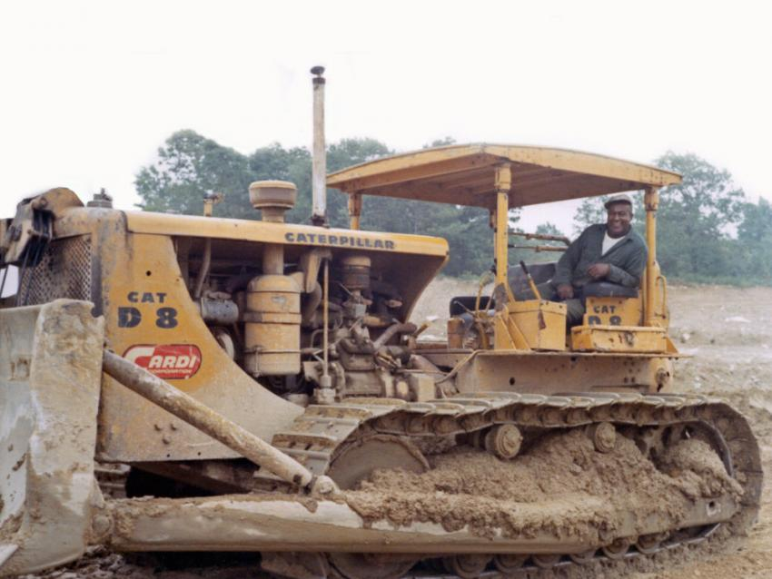 The Caterpillar D8 bulldozer is working on the firm's Route 140 project in New Bedford, Mass.