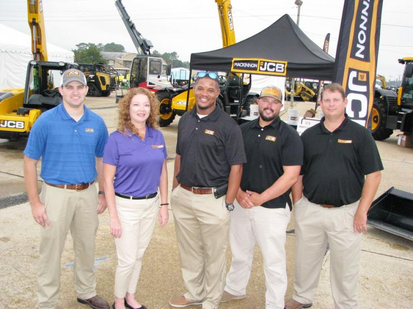 (L-R): Dan Willhelm, Amanda Johnson, Darius Prentice, Randy Tinley and Neil Rountree of MacKinnon JCB came to the show with an impressive display of JCB machines.