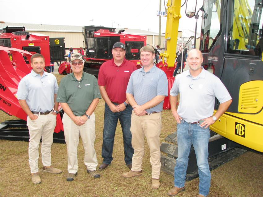 Fecon and its local dealer, Tractor & Equipment Co., join forces to promote the Fecon line of mulching machines and attachments (L-R) including Scott Deitz, Frank Plotts, Britt Hefner, Scott Burson and John Lake.