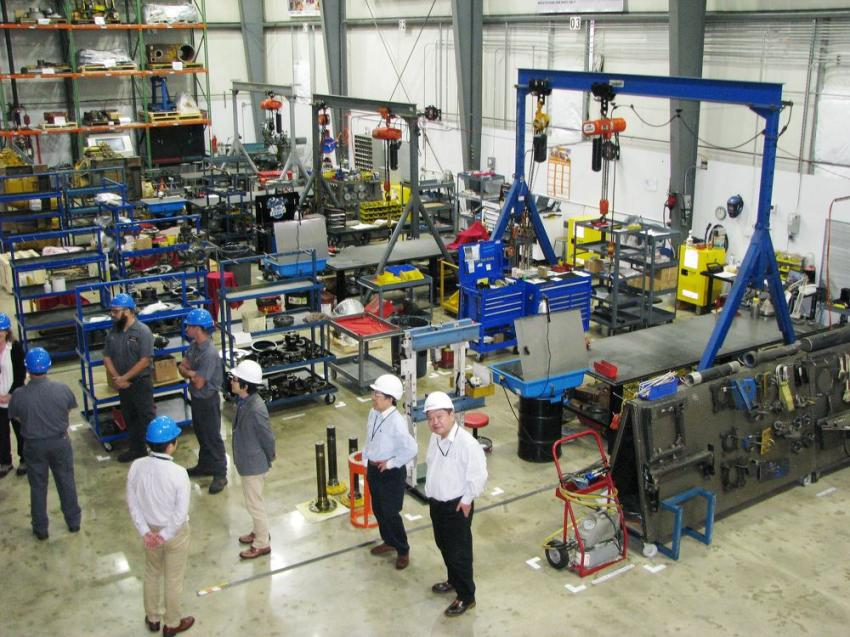 An overhead view of the larger Newnan, Ga., remanufacturing facility.