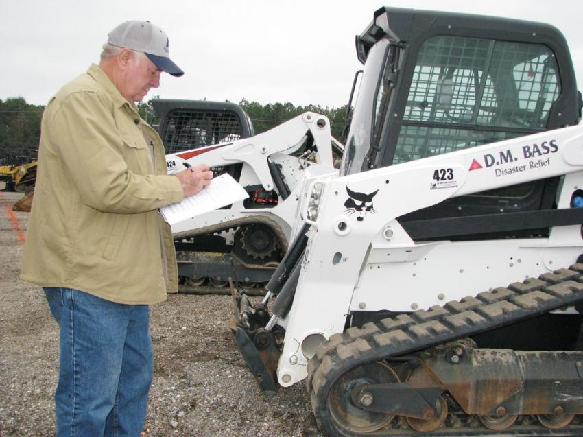 Jotting a few notes on some Bobcat compact track loaders of interest is James Sullivan of Sullivan Construction Services, Pearl, Miss.