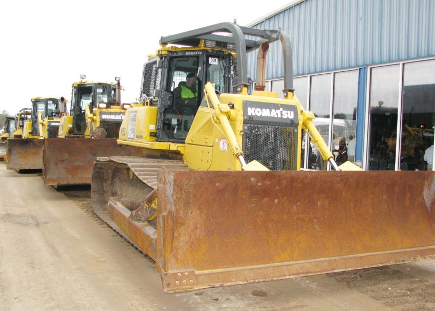 The yellow iron that rolled across the ramp included a nice collection of Caterpillar and Komatsu dozers.
