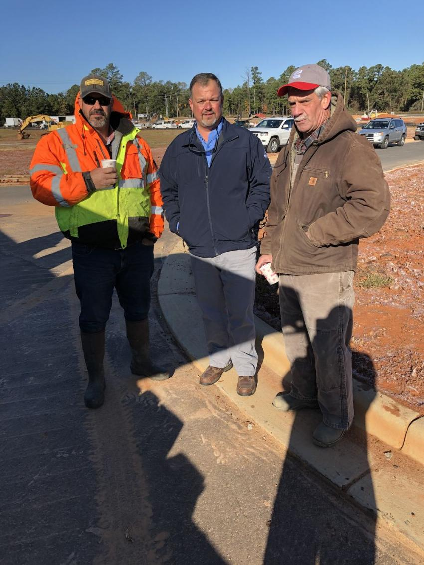 (L-R) are Stephen James of Chattam Civil Contracting in Siler City, N.C.; Chuck Harris of Benchmark Tool & Supply; and Ken Smith of Odell Smith & Sons in Fayetteville, N.C.