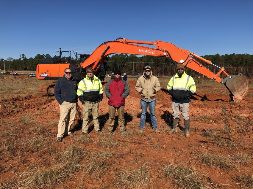 (L-R): John Mooney, Levi Senter and Mike Gaillard, all of Benchmark Tool & Supply; John Patton of Residential Grading & Fabrication in Apex, N.C.; and Jared Robbins, also of Benchmark.