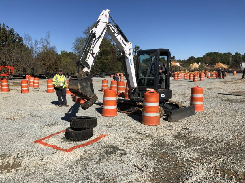 This contractor from Monroe, N.C., posted the lowest time on the tire grab event; he said the smooth hydraulics made it easy.
