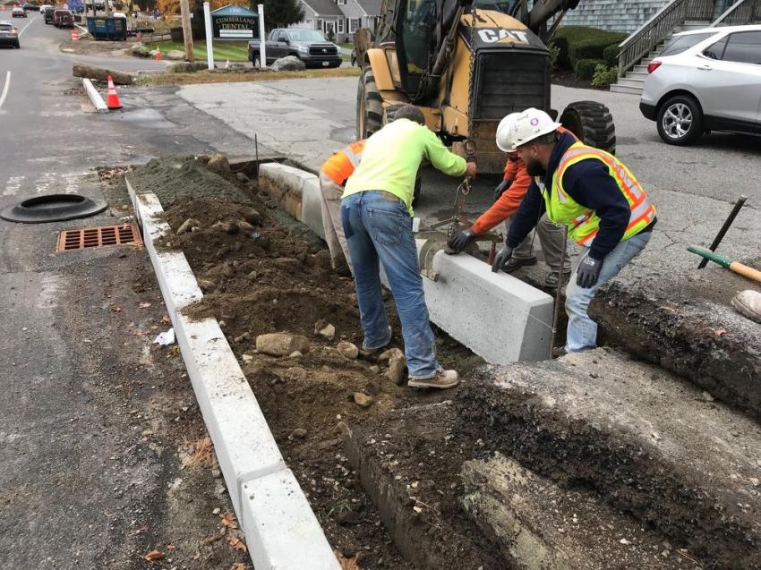Crews install new curbing, perform drainage work and make electrical upgrades for LED lighting around the roundabouts on Diamond Hill Road, from Industrial Road to Bear Hill Road and Angell Road.