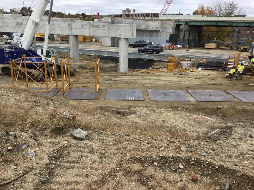 Route 6/10 Interchange Reconstruction, Providence: crews continue building the retaining walls for the Route 10 North to Route 6 West flyover bridge approach, performing utility work on Westminster Street over Route 10, and forming and pouring the concrete bridge barriers on the Plainfield Street Bridge on Route 6 East.