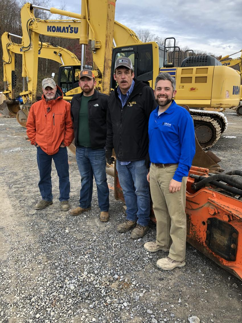 (L-R) are Tim Herring, Matt and Wes Addair, all of A&A Energy in Belfast, Va., and Jared McGaffee of Iron Auction Group.