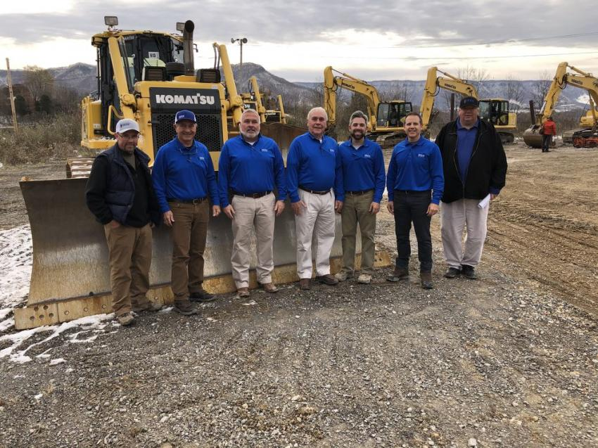 (L-R) are Jeff Taylor of Ultra Group Cedar Bluff, Va.; Ross McMillan; Matt, Terry and Jared McGaffee; Mike Finley and Sam Ingram, all of Iron Auction Group.