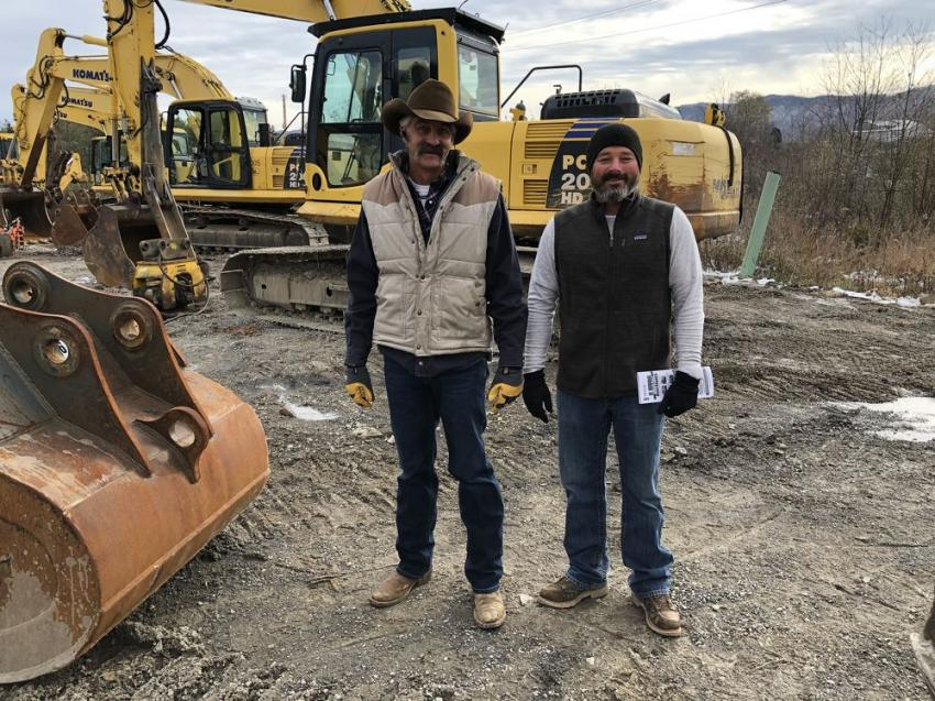 Chad (L) and Brandon Lampkin of Bull Worx in Lebanon, Va., braved the cold November morning to pick up a few pieces of late-model Komatsu equipment.