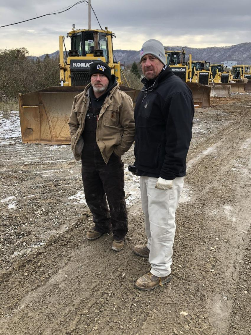 Jeff Richardson (L) and Robert Deeb, both of DCI Shiers in Bluefield, W.Va., came to the sale to buy a few Komatsu dozers.