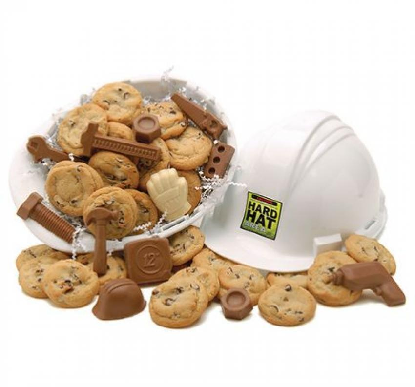 Hard Hat Full of Treats — There's always time on the job for a snack break! This assortment of chocolate chip cookies and construction-themed milk chocolate comes packaged in a hard hat. $34.99.