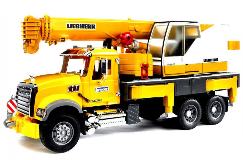 MACK Granite Liebherr Crane Truck — With a crane extending more than 4 ft. tall, stabilizer legs, a counterweight and more, this 1:16 scale truck is almost better than the real thing! Suitable for ages 4 and up. $118.95