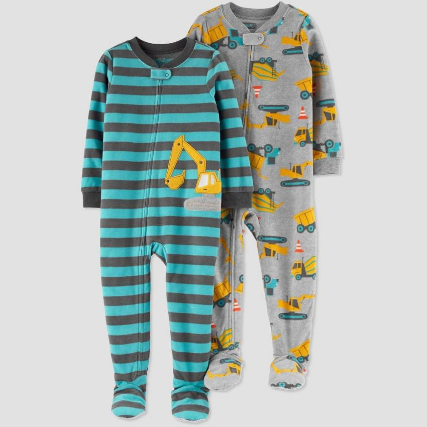 Construction Pajamas — Cuddle up your little one in these cozy, fleece pajamas. The set of two features images of a variety of your child's favorite pieces of equipment. Available in sizes 9M to 5T. $16.99