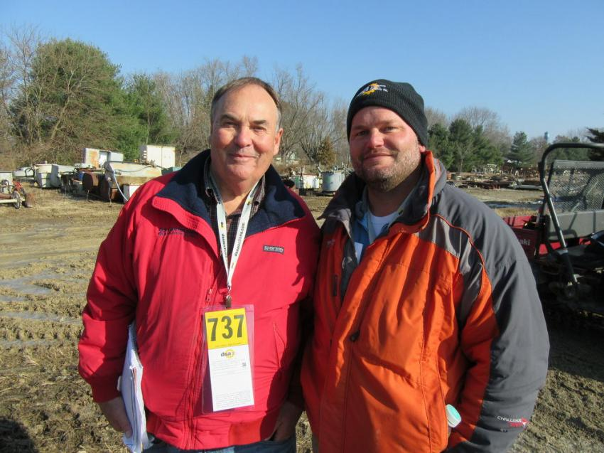 Bill Dodds (L) of Indiana Equipment and Tim Segal of Segal's Sand and Gravel were looking for equipment bargains at the auction.