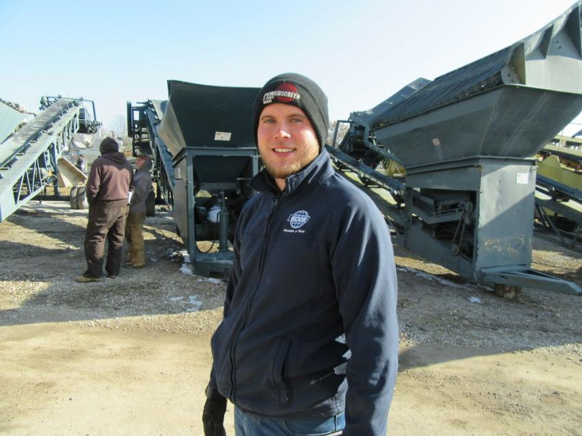 Connor Cobane of Powerscreen Crushing and Screening, the Terex EvoQuip dealership for Indiana, stopped in to see the auction activities.
