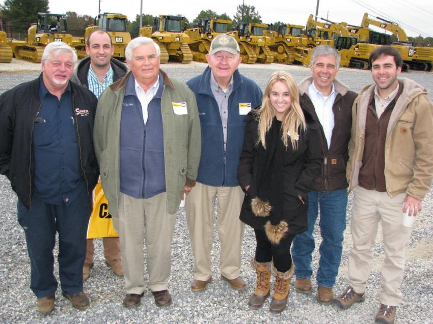 Some of the staff of W.S. Newell in Montgomery, Ala., came out for lunch and to see what deals could be had. (L-R): Doug Cousins, Blane Mason, Sam Newell, Phillip Turner, Emily Anne Newell of Thompson Tractor, her dad Keith Newell and brother Mitchell Newell.