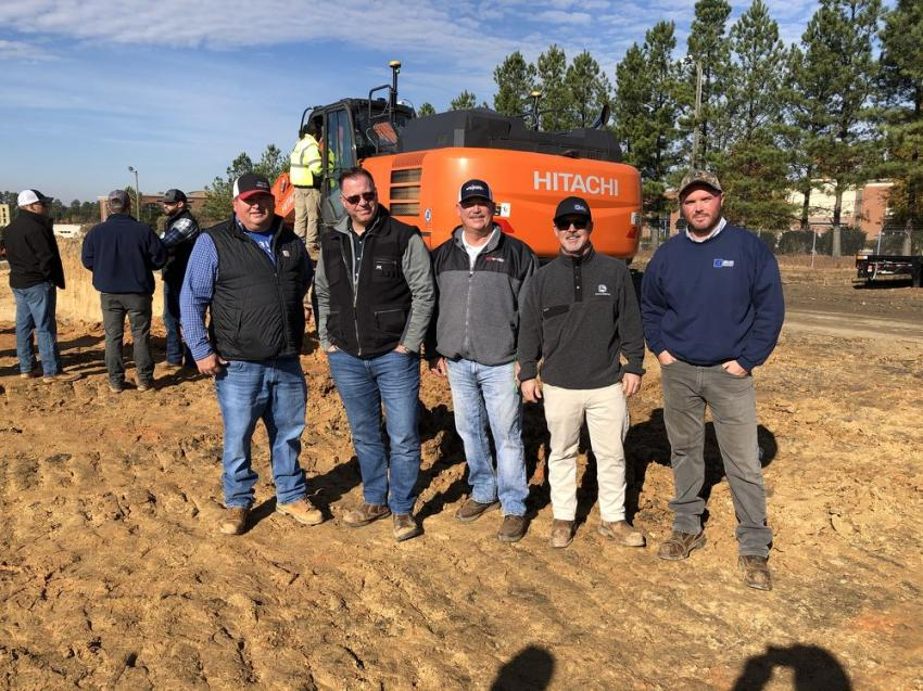(L-R): Fate Lawing of Sugar Hill Contractors in Marion, N.C.; Jeff Keilen and Scott Holloway, both of  Siteworks in Charlotte; and Ted Doran and Kell Cleeland, both of James River Equipment.