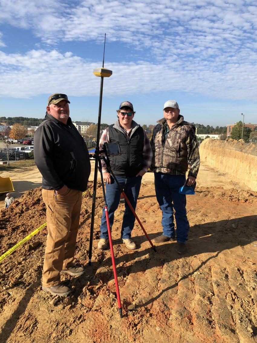 (L-R): Donald Dawson, D.J. and David Whitesell, all of Whitesell Trucking in Rock Hill, S.C., were impressed with the Topcon FC-500.