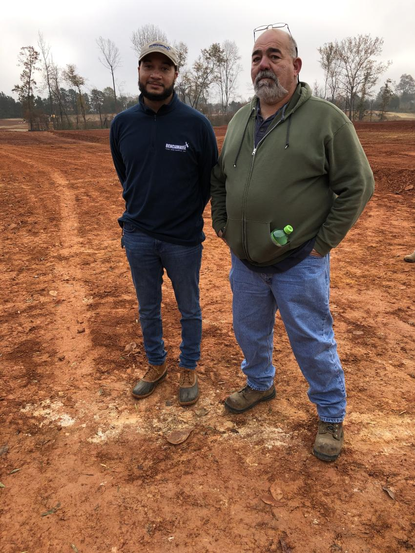Discussing the productivity enhancing capabilities of the Topcon X-53x are Michael Matthew (L) of Benchmark and Eddy Wray of Branch Civil in Roanoke, Va.