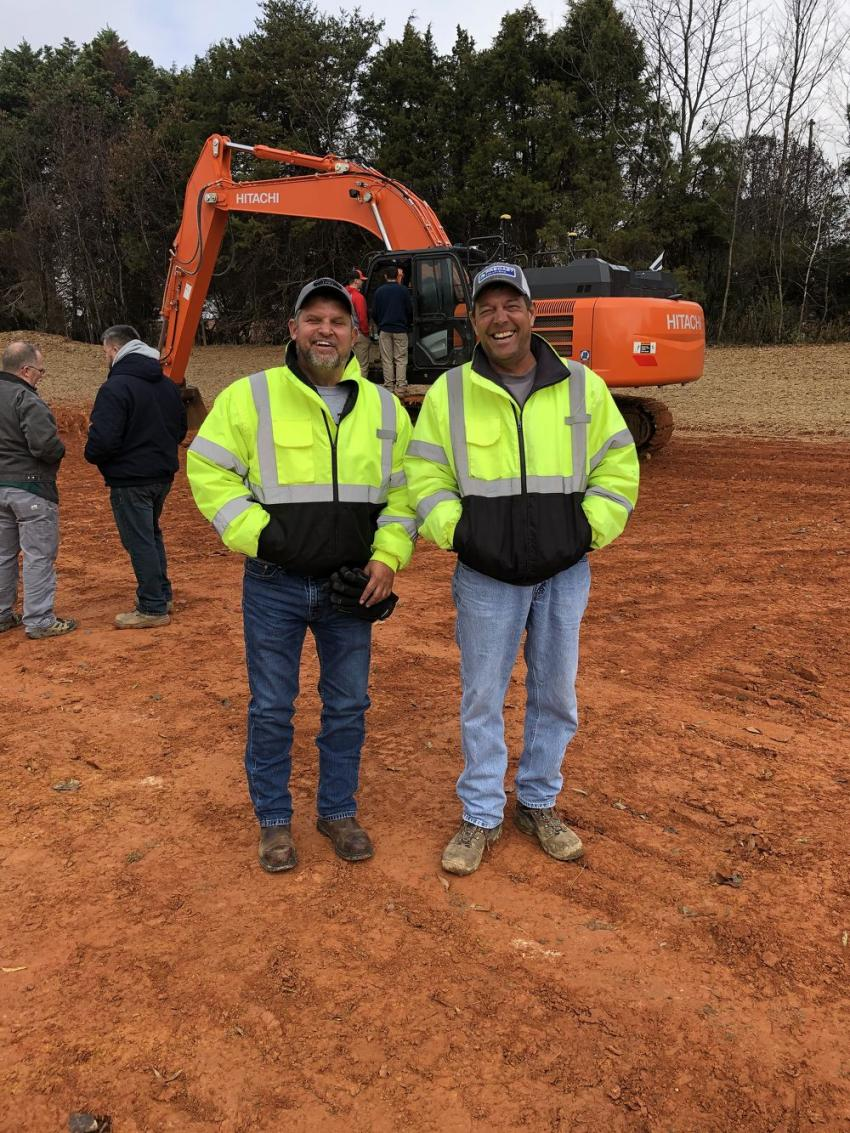 Bret Arnold (L) and Mark Sutton, both of Yates Construction in Stokesdale, N.C.