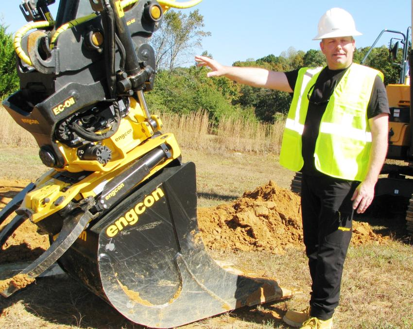 David Tomsson of engcon, New Haven, Conn., was a welcomed manufacturer at the demo training site and presented his company's unique Tiltrotator attachments.