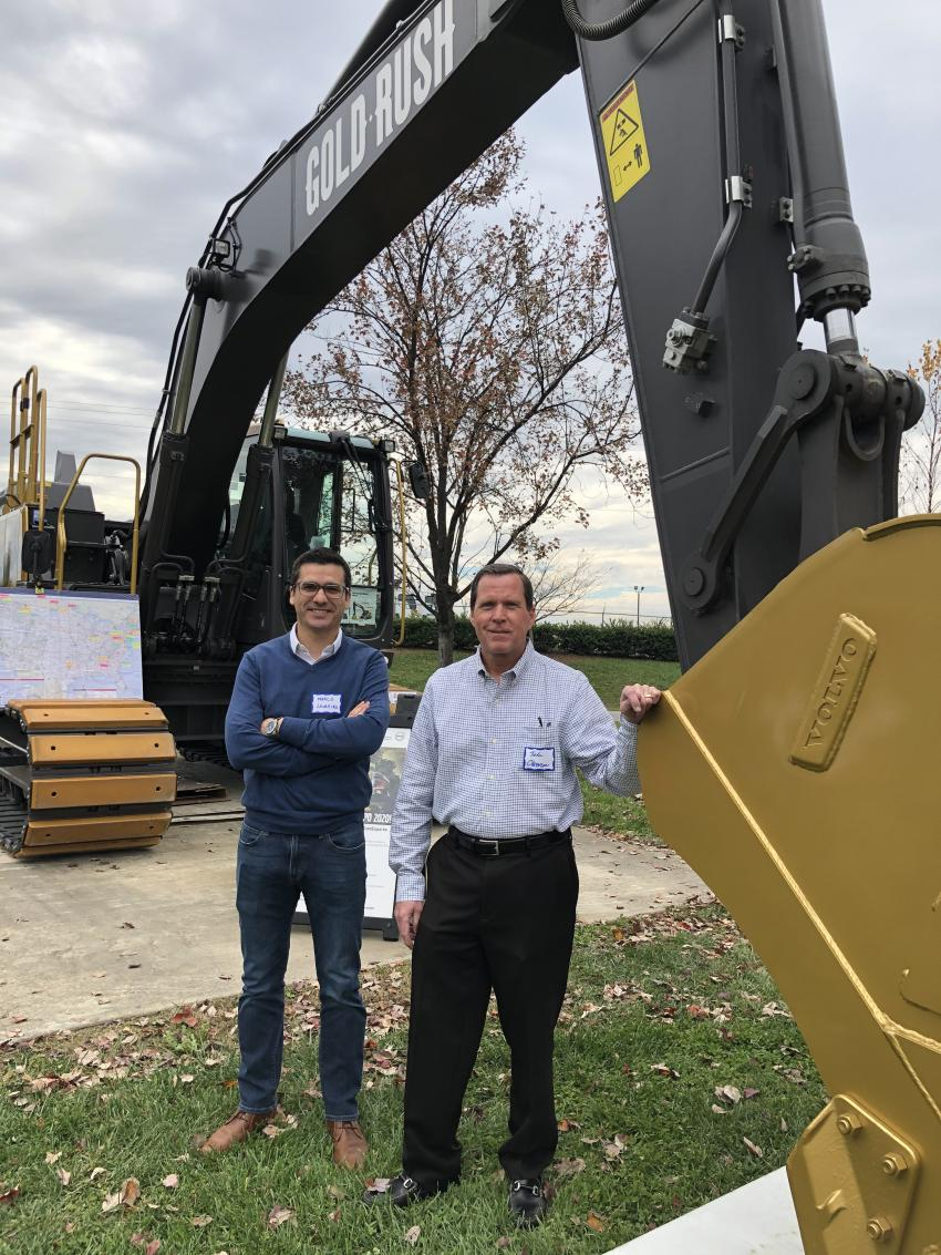 Discussing the increase in productivity of Volvo wheel loaders are Stephen Arnold (L) of Ascendum Machinery and John Arnold of Arnold Grading & Paving in Charlotte, N.C.