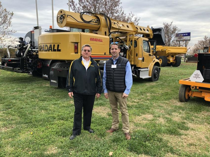 Steven Berube (L) of Gradall and Doug Boice of Ascendum Machinery.