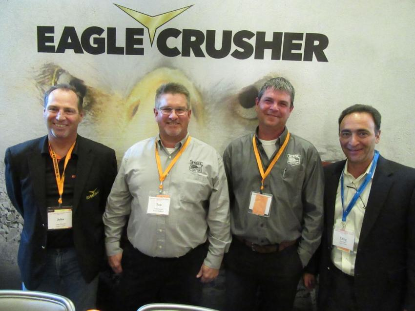 (L-R): Eagle Crusher's John Powell welcomes Stone Products' Tom Kovesci and Dan Fugate as its new authorized dealer for Ohio, along with Eagle Crushers' Greg Spina.