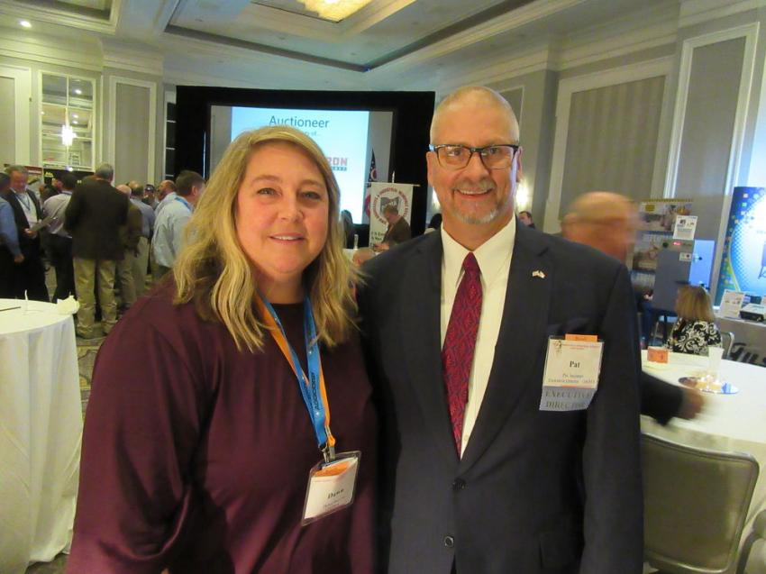 OAIMA's Dawn Hoover and Patrick Jacomet greet attendees and exhibitors while keeping an eye out to ensure that everything ran smoothly at the event.