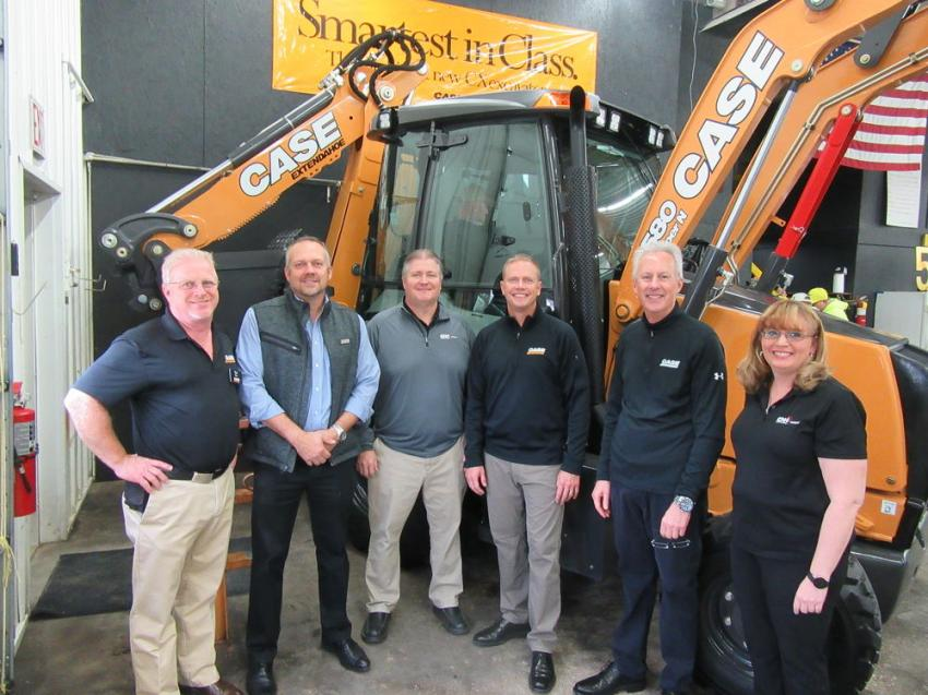A full contingent of Case Construction Equipment and CNH Industrial representatives were on hand to celebrate Diamond Equipment's 50th Anniversary. (L-R) are Don Miller, Ron Miller, Craig Henry, Adam Doll, Guy Vachon and Wendy Coffey.