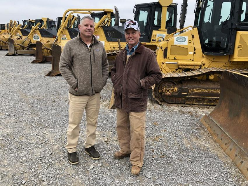 Chris Simerly (L) of Simerly Excavating LLC in McMinnville, Tenn., and Malcolm Jessup of Jessup Grading in Spencer, Tenn. They were both interested in a couple of Komatsu dozers and excavators.