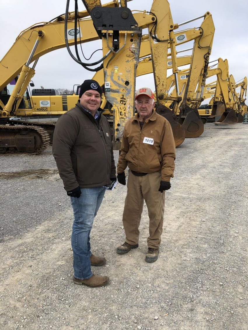 Chip Hayes and Terry Crabtree, both of Retreat at Waters Edge in Tracy City, Tenn., came to the auction to buy excavators, trucks and dozers.