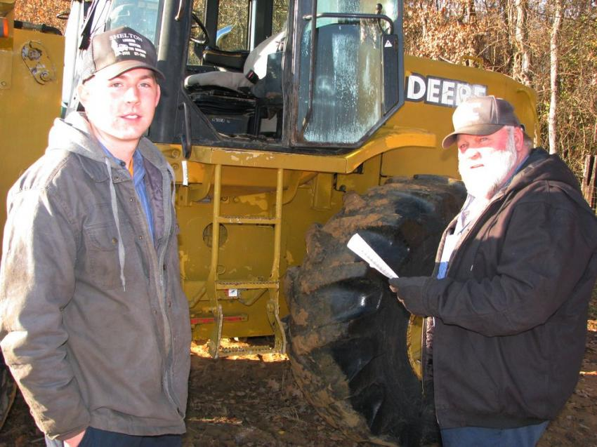 Jacob Woodlieff (L) and Brian Shelton of Shelton Logging & Chipping traveled to the sale from Stokesdale, N.C., to bid on some machines they need.