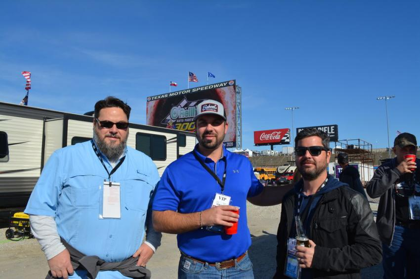 (L-R): Whit Walters of ROMCO with Bobcat Trucking President Brandon Eagan and Jordan Schultz. Bobcat Trucking is an excavation contractor in New Braunfels, Texas.