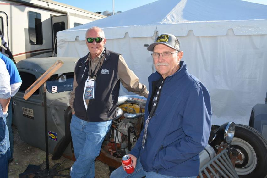 Charlie Clarkson (L), ROMCO president, and Paul Birkholz, product support manager, answered customer questions about the 1940 Ford Rat Rod, which has been part of the ROMCO family for decades.