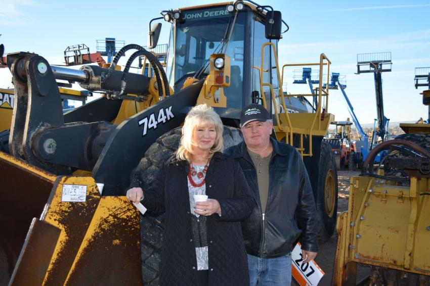 Dave and Tina Pettingill own RGW Restoration Group of Mountainair, N.M. The John Deere 744K loader was one of several they would bid on at the El Paso sale.