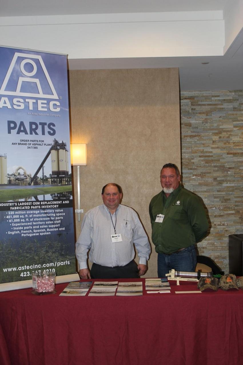 Robert Frank (L), regional sales manager of Astec Mobile Screens, Chattanooga, Tenn., and Kevin Johner, parts regional sales manager Astec's Heatec Inc. division, also out of Tennessee, were on hand to discuss the company's products with conference attendees.