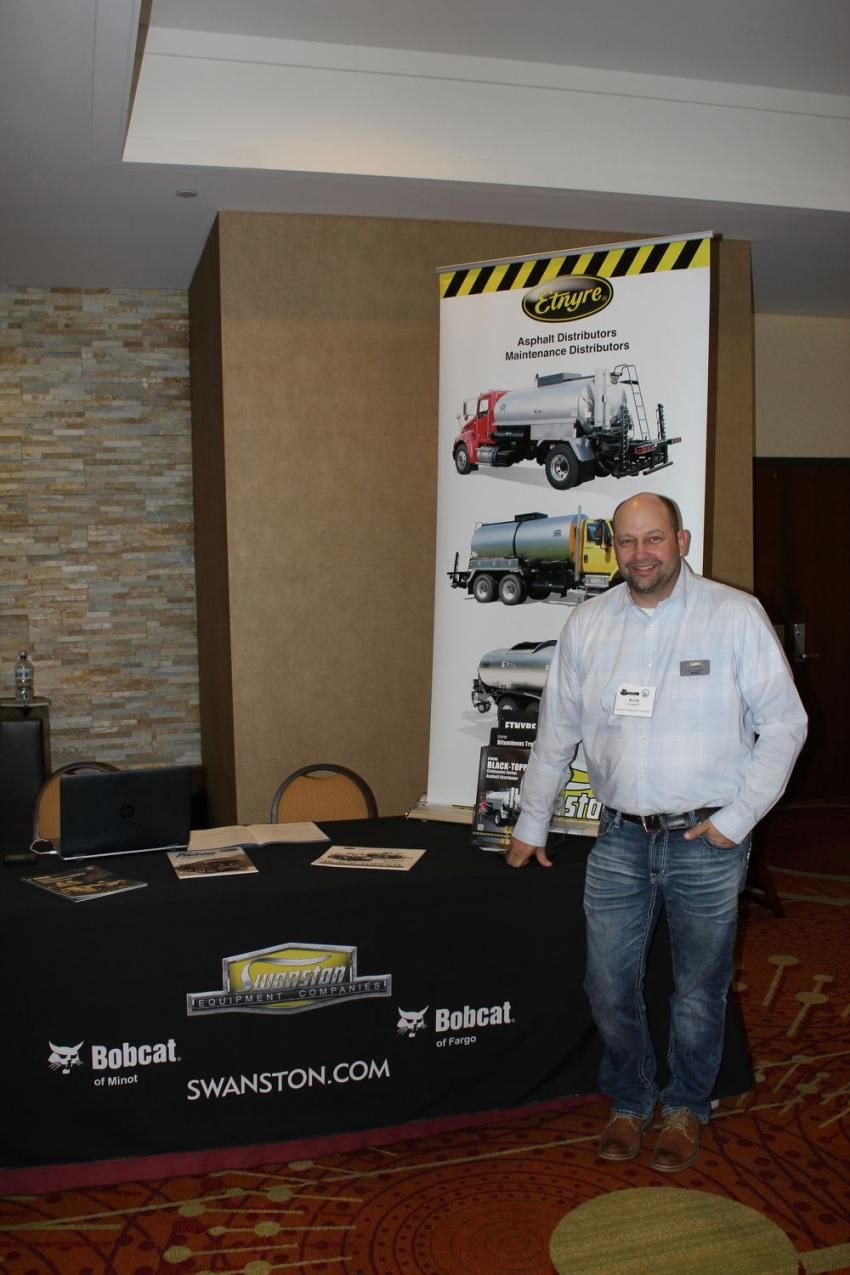 Brock Leagjeld, Minnesota sales representative of Swanston Equipment, Fargo, N.D., has info on the Etnyre product line. Brock said it should be another great year in the paving industry in Minnesota for 2020. MAPA does a great job with its members and this event, he said.
