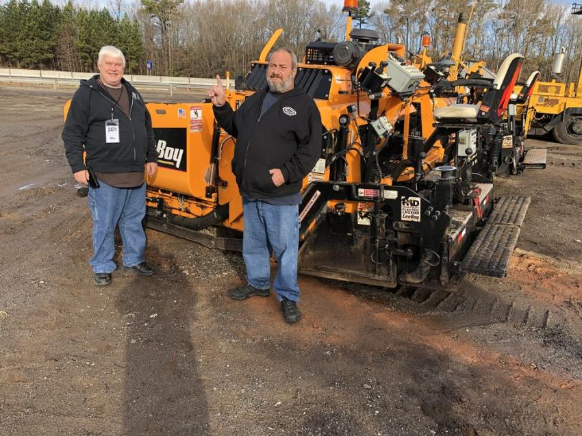 """We are buying this LeeBoy 8520 paver today,"" said Patrick Campbell (L) and Gus Simpson, both of Simpson's Trucking & Grading in Gainesville, Ga."