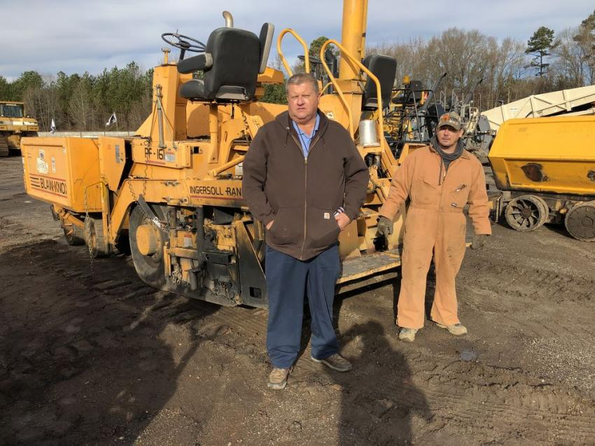 Bobby Allen (L) and Ricky Gosnell of Lonesome Mountain Paving in Marshall, N.C., looked over this Blaw-Knox PF161 paver and planned to bid on it.